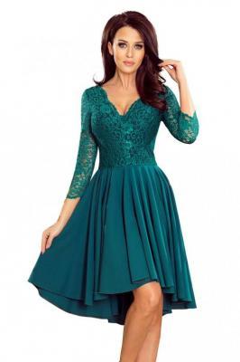 Zielona Wieczorowa Asymetryczna Sukienka z Koronką