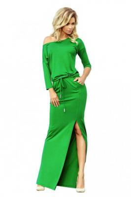 Zielona Dzianinowa Maxi Sukienka z Rozporkiem