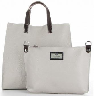 Torebki Skórzane 2w1 Listonoszka i ShopperBag firmy Genuine Leather Jasno Szare (kolory)