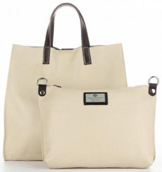 Torebki Skórzane 2w1 Listonoszka i ShopperBag firmy Genuine Leather Beżowe (kolory)