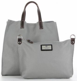 Torebki Skórzane 2w1 ShopperBag i Listonoszka firmy Genuine Leather Szare (kolory)