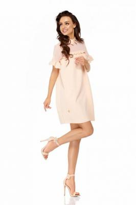Łososiowa Luźna Sukienka z Kołnierzykiem Wykończona Falbankami