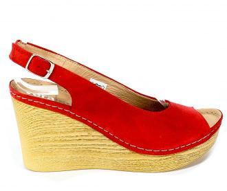 Sandały Verano 1986 Czerwony Zamsz