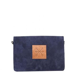 damska kopertówka skórzana torebka Mariah na ramię granatowa