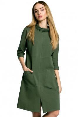 Prosta sukienka oversize z dużymi kieszeniami - Zielony