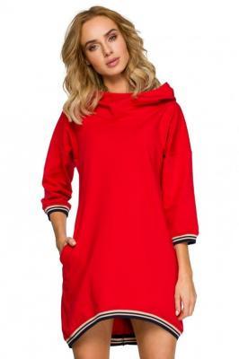 Sportowa sukienka obszernym kapturem i kieszeniami - Czerwony