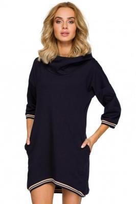 Sportowa sukienka obszernym kapturem i kieszeniami - Granatowy