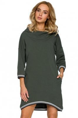 Sportowa sukienka obszernym kapturem i kieszeniami - Zielony