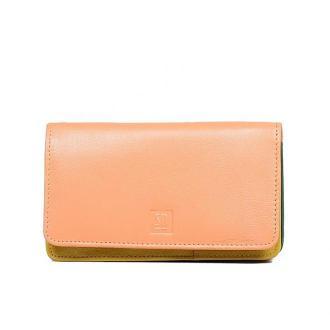portfel skórzany pomarańczowo-fioletowy