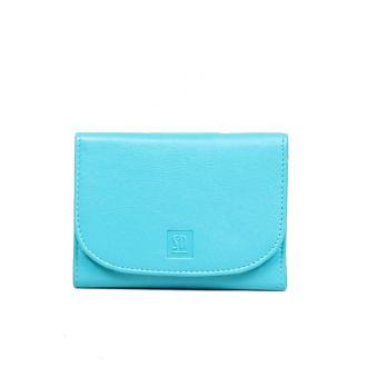 portfel skórzany niebieski z żółtym akcentem