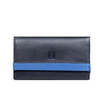 portfel skórzany czarno-niebieski