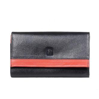 portfel skórzany czarny z czerwonym detalem