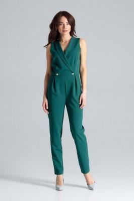 Zielony Elegancki Kombinezon z Guzikami