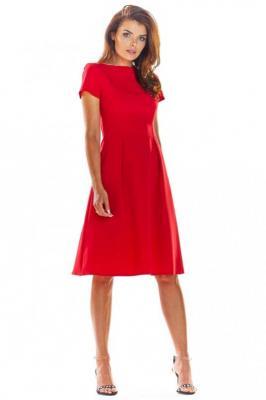 Czerwona Klasyczna Lekko Rozkloszowana Sukienka z Krótkim Rękawem