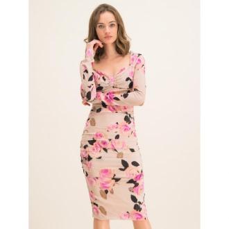 Pinko Sukienka koktajlowa 20192 BLK01 1G14BN 7670 Beżowy Regular Fit