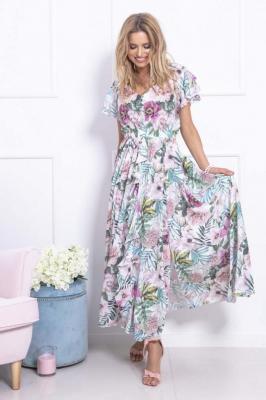 Długa Sukienka w Tropikalne Kwiaty i Liście
