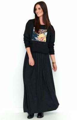 Czarna Zwiewna Maxi Spódnica na Gumie