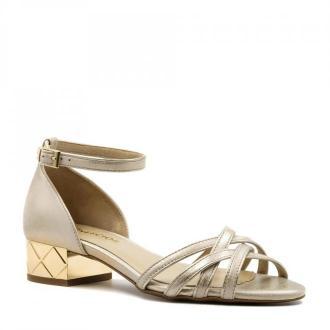 Złote skórzane sandały z zakrytą piętą na ozdobnym obcasie 85B