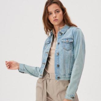 Sinsay - Kurtka jeansowa z guzikami - Niebieski
