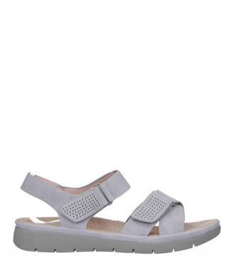 Szare sandały płaskie na rzepy
