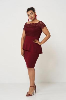 HELLEN WINE elegancka sukienka z baskinką : Rozmiar - 46