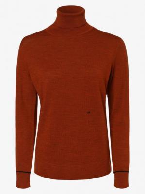 Calvin Klein - Sweter damski z wełny, pomarańczowy