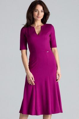 Elegancka sukienka midi z dekoltem V - Fioletowy