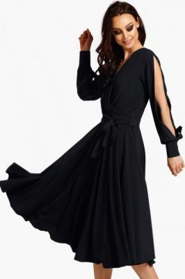 Elegancka zwiewna rozkloszowana sukienka z rozciętymi rękawami