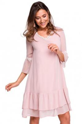 Koktajlowa szyfonowa zwiewna sukienka z falbaną - Różowy