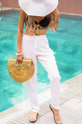 Spodnie lniane NATALINA WHITE