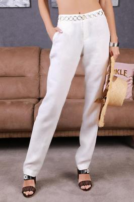 Spodnie lniane REMENA WHITE