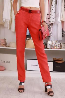 Spodnie lniane REMENA RED