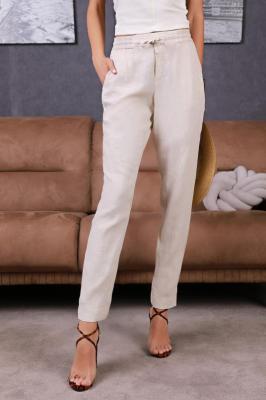 Spodnie lniane NATALINA BEIGE
