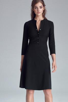 Czarna Casualowa Skromna Sukienka Zapinana na Napki