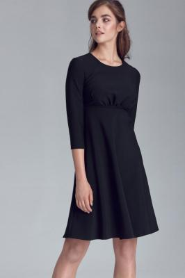 Czarna Rozkloszowana Sukienka Odcinana pod Biustem