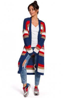 Kolorowy długi sweter kardigan narzutka z modnym splotem - Wielokolorowy
