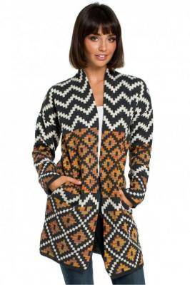 Sweter kardigan bez zapięcia w kolorowy aztecki wzór - Wielokolorowy
