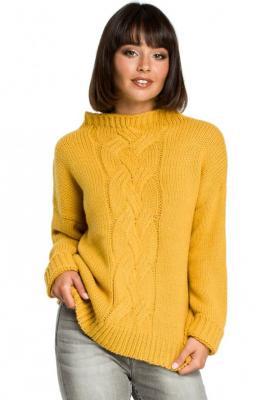 Ciepły sweter z splotem warkoczem na przodzie - Żółty
