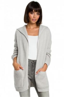 Dłuższy sweter kardigan bez zapięcia z kapturem - Szary
