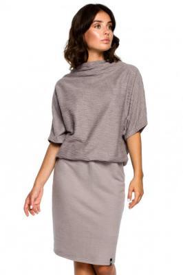 Sukienka z luźną zbluzowaną górą i dopasowanym dołem - Szary