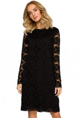 Wieczorowa koktajlowa koronkowa trapezowa sukienka - Czarny
