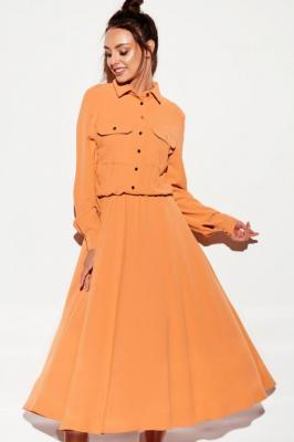 Dłuższa sukienka koszulowa rozkloszowana szmizjerka - Beżowy    Karmel