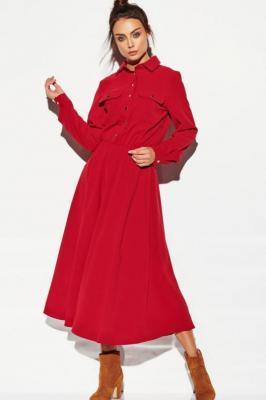 Dłuższa sukienka koszulowa rozkloszowana szmizjerka - Czerwony
