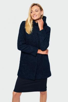 Granatowy płaszcz z kapturem