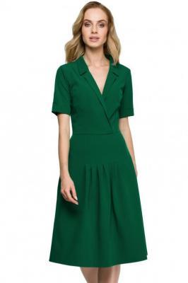 Sukienka z żakietowym wykładanym kołnierzem - Zielony