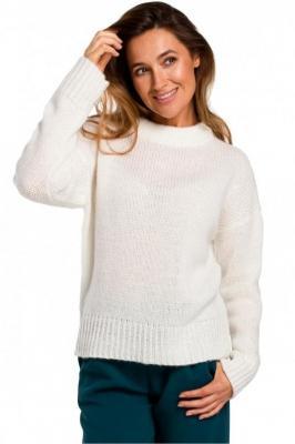 Miękki sweter o luźnym splocie z wełną - Beżowy