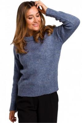 Miękki sweter o luźnym splocie - Niebieski