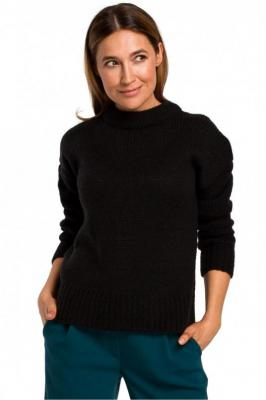 Miękki sweter o luźnym splocie - Czarny