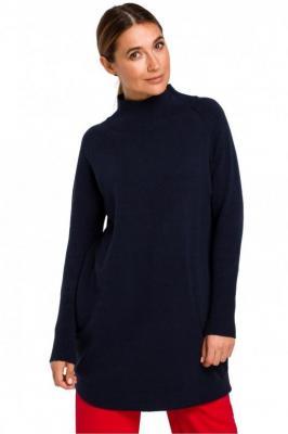 Dłuższy sweter z prążkowanym półgolfem - Granatowy