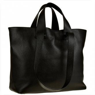 Torba skórzana shopper bag czarna na ramię i do ręki